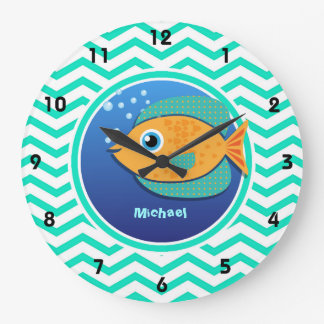 Orange Fish; Aqua Green Chevron Wallclock