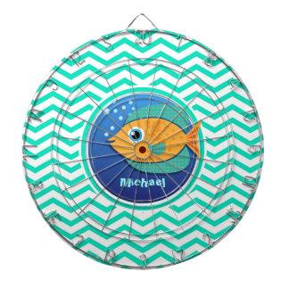 Orange Fish; Aqua Green Chevron Dartboard