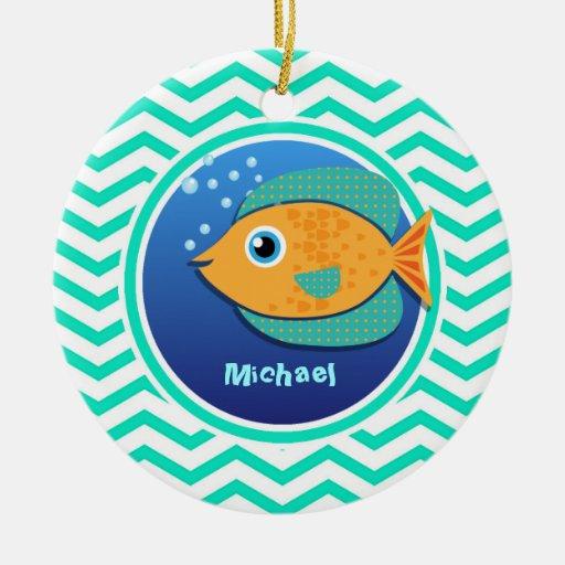 Orange Fish; Aqua Green Chevron Christmas Ornament