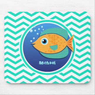 Orange Fish; Aqua Green Chevron Mouse Pad