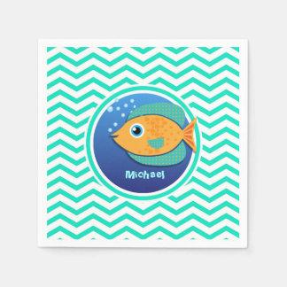 Orange Fish; Aqua Green Chevron Paper Napkins