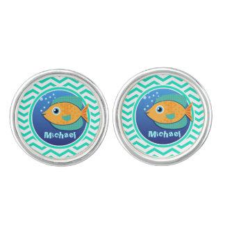 Orange Fish; Aqua Green Chevron Cufflinks