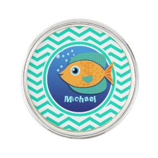 Orange Fish; Aqua Green Chevron