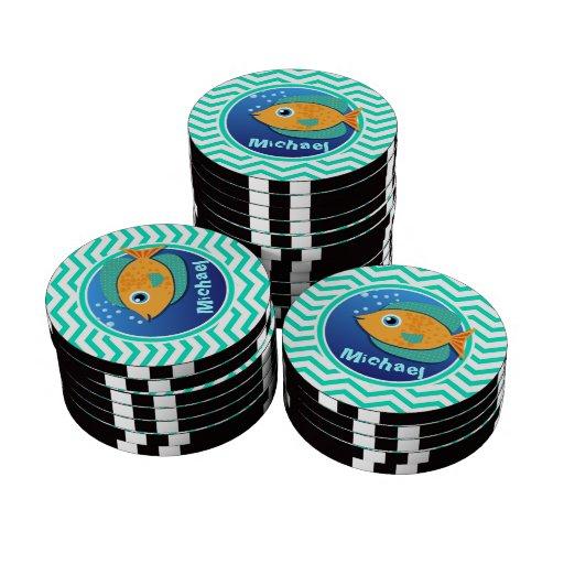 Orange Fish; Aqua Green Chevron Poker Chip Set