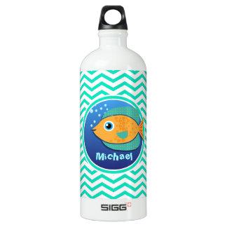 Orange Fish; Aqua Green Chevron SIGG Traveller 1.0L Water Bottle