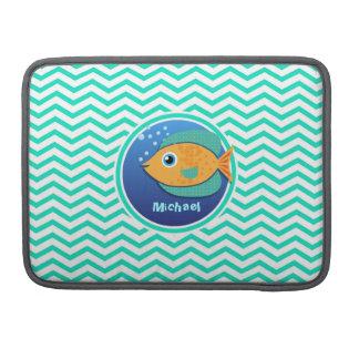 Orange Fish; Aqua Green Chevron Sleeve For MacBook Pro