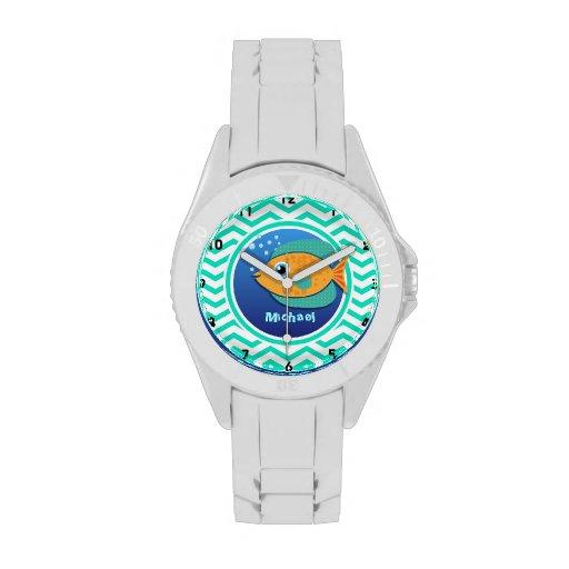Orange Fish; Aqua Green Chevron Watches