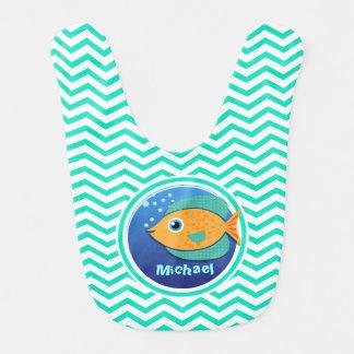 Orange Fish; Aqua Green Chevron Baby Bib