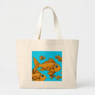 Orange Fish Canvas Bags