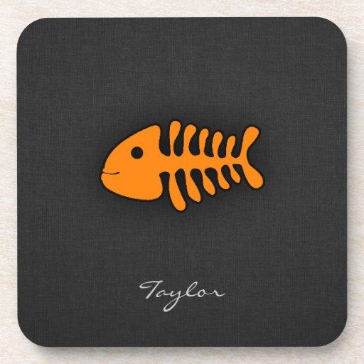 Orange Fish Bones Beverage Coaster