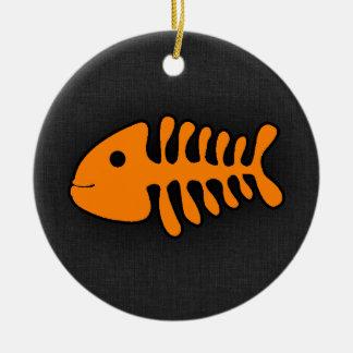 Orange Fish Bones Christmas Tree Ornament