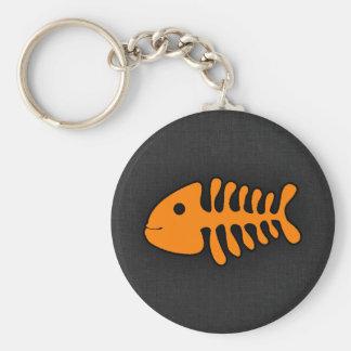 Orange Fish Bones Key Chain