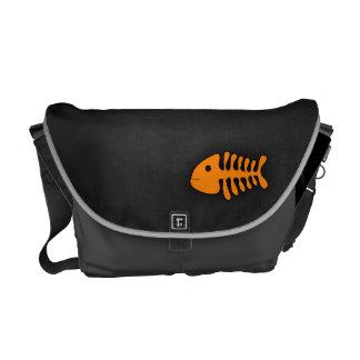 Orange Fish Bones Messenger Bags