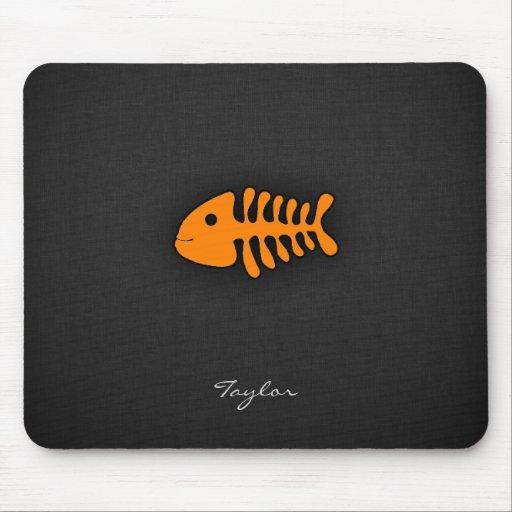 Orange Fish Bones Mouse Pad