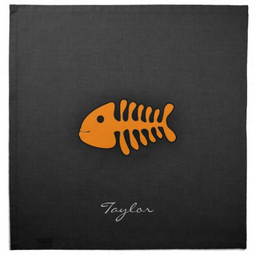 Orange Fish Bones Printed Napkins
