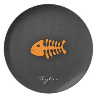 Orange Fish Bones Party Plate