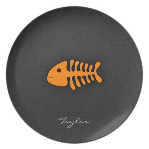 Orange Fish Bones Party Plates