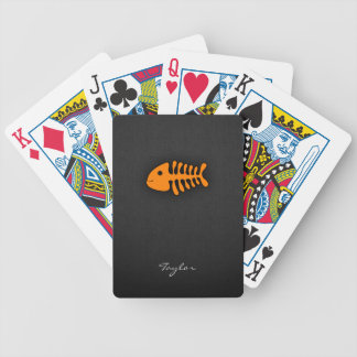 Orange Fish Bones Poker Cards