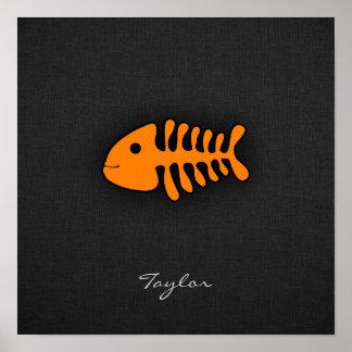 Orange Fish Bones Posters