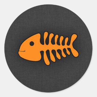 Orange Fish Bones Round Sticker