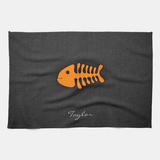 Orange Fish Bones Hand Towels