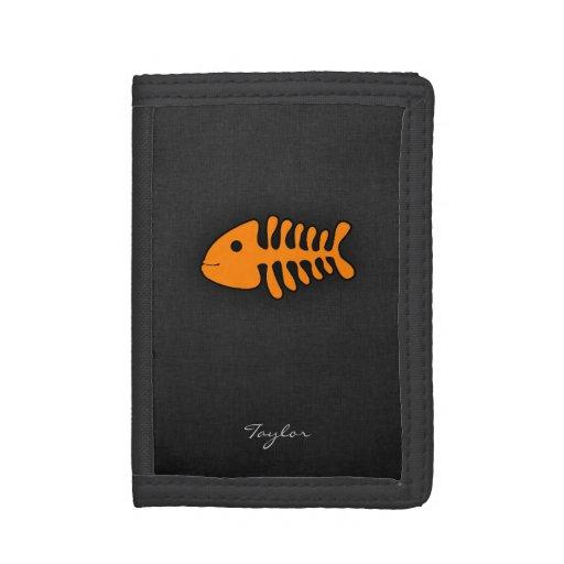 Orange Fish Bones Tri-fold Wallet