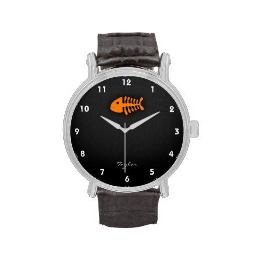 Orange Fish Bones Wrist Watch