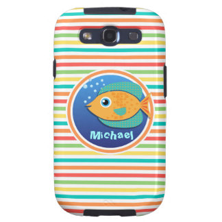 Orange Fish; Bright Rainbow Stripes Samsung Galaxy SIII Case