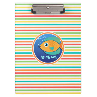 Orange Fish; Bright Rainbow Stripes Clipboard