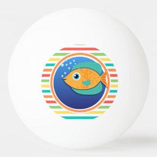 Orange Fish Bright Rainbow Stripes Ping Pong Ball