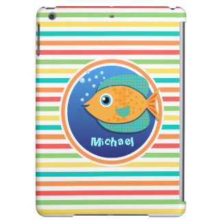 Orange Fish; Bright Rainbow Stripes iPad Air Case