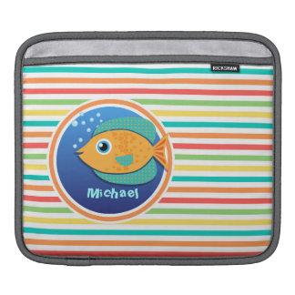 Orange Fish Bright Rainbow Stripes Sleeves For iPads