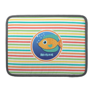 Orange Fish; Bright Rainbow Stripes MacBook Pro Sleeve