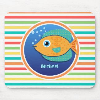 Orange Fish; Bright Rainbow Stripes Mouse Pad