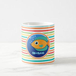 Orange Fish; Bright Rainbow Stripes Mugs