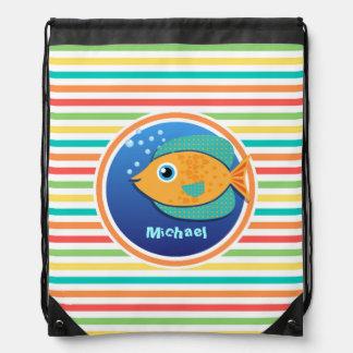 Orange Fish; Bright Rainbow Stripes Backpack