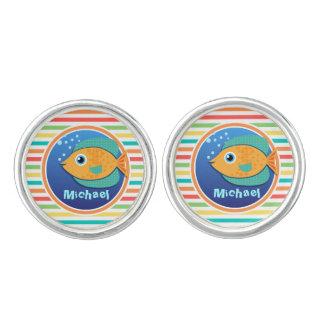 Orange Fish; Bright Rainbow Stripes Cufflinks