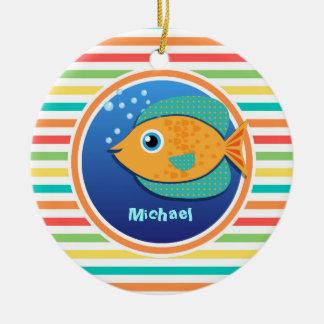 Orange Fish; Bright Rainbow Stripes Round Ceramic Decoration