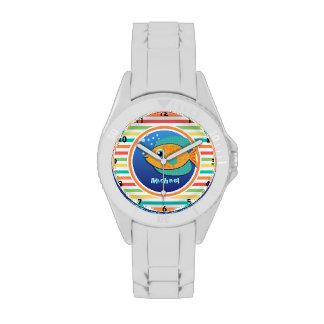 Orange Fish; Bright Rainbow Stripes Wrist Watch
