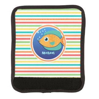 Orange Fish Bright Rainbow Stripes Luggage Handle Wrap