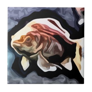 orange fish deep swimming painting tile
