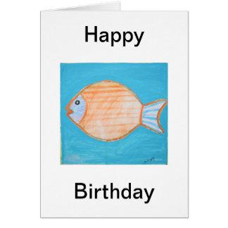 Orange Fish Happy Birthday Card
