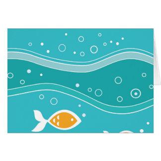 Orange Fish in Teal Ocean Greeting Card
