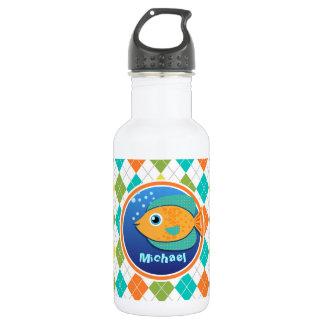 Orange Fish on Colorful Argyle Pattern 532 Ml Water Bottle