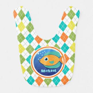 Orange Fish on Colorful Argyle Pattern Baby Bib