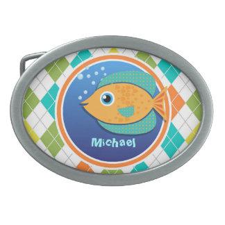 Orange Fish on Colorful Argyle Pattern Oval Belt Buckles