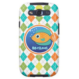 Orange Fish on Colorful Argyle Pattern Galaxy S3 Cases