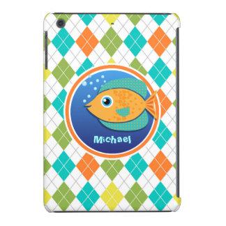 Orange Fish on Colorful Argyle Pattern iPad Mini Retina Cases