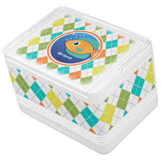Orange Fish on Colorful Argyle Pattern Chilly Bin