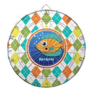 Orange Fish on Colorful Argyle Pattern Dart Board